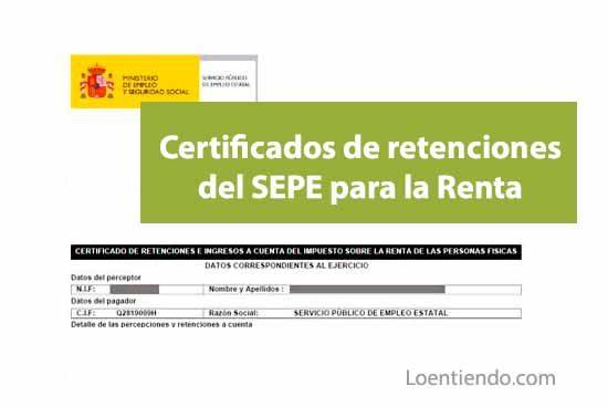 Obtener certificado retenciones IRPF SEPE declaración Renta