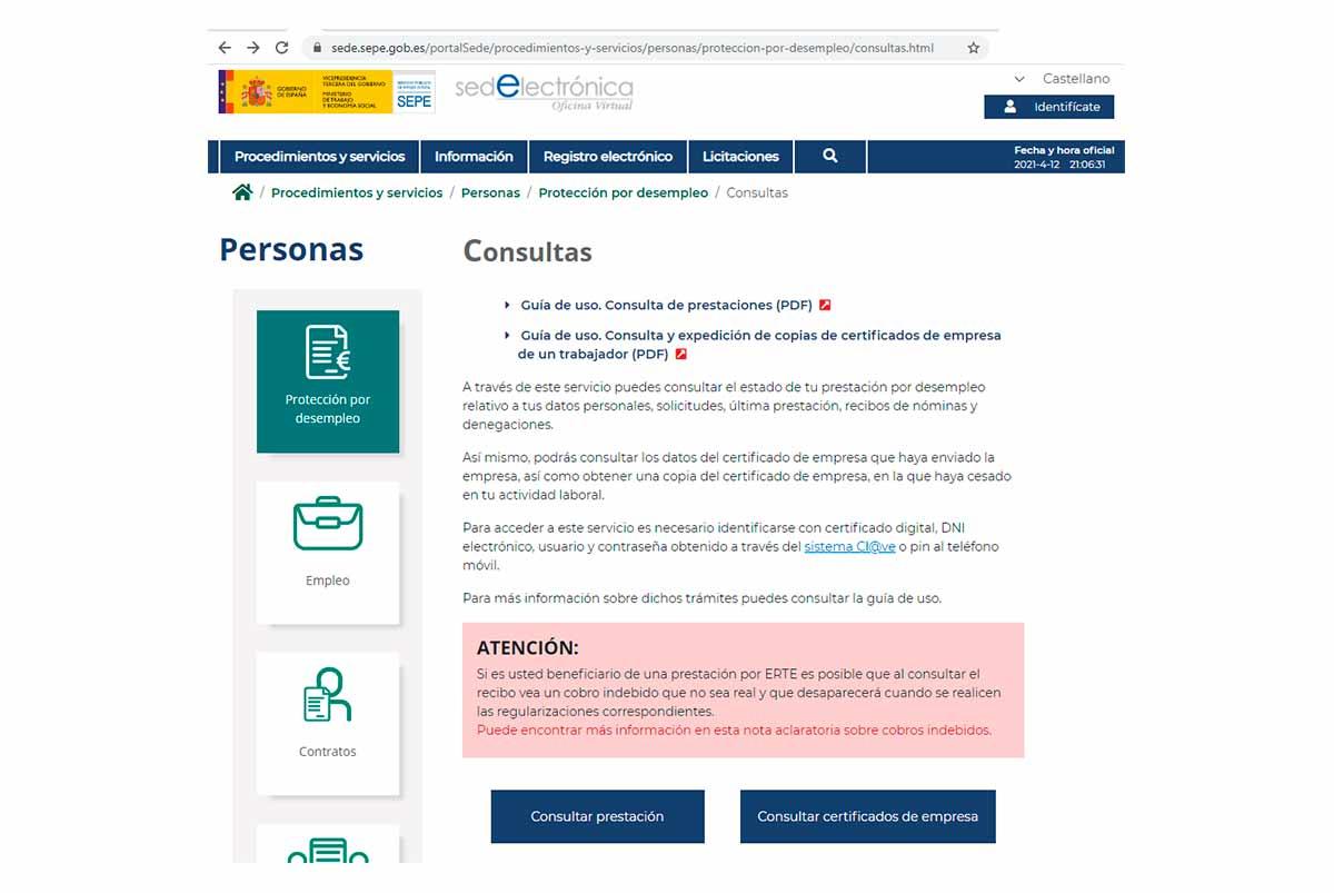 Reactivación servicio consultas online SEPE
