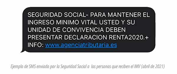 SMS del INSS sobre Ingreso Mínimo Vital y declaración de la renta