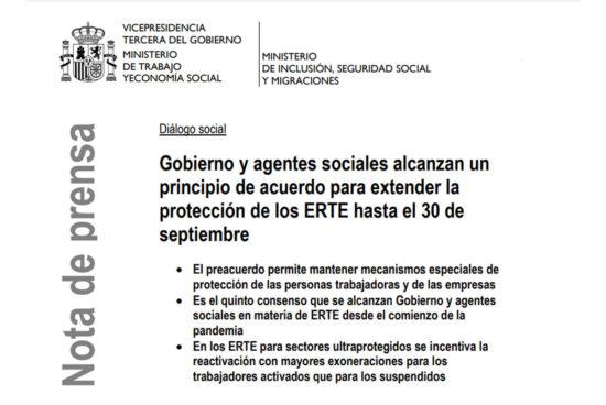 Acuerdo renovación ERTE hasta el 30 de septiembre