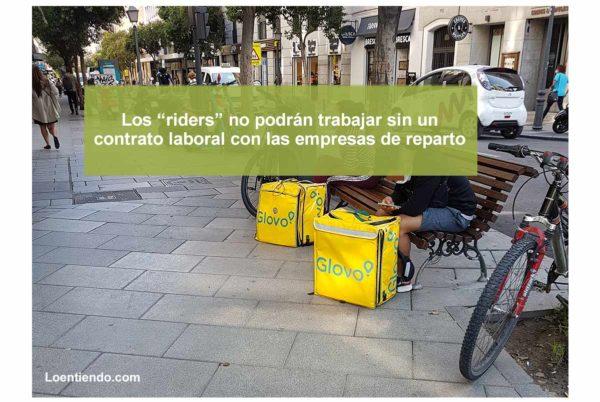 Los riders deberán ser contratados laboralmente por las empresas de reparto de comida a domicilio