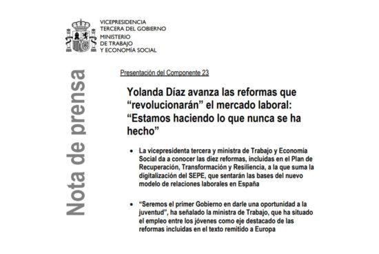 Yolanda Díaz revolucionará el mercado laboral