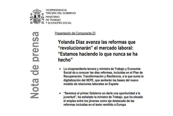 Yolanda Díaz anuncia 10 reformas que, según su plan, revolucionarán el mercado laboral