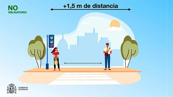 Mascarilla no obligatoria en exteriores si hay distancia de metro y medio
