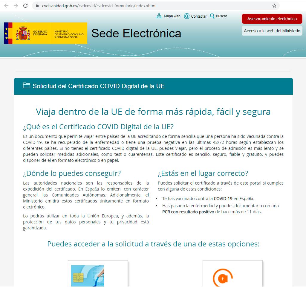 Sede electrónica Ministerio de Sanidad. Certificado COVID