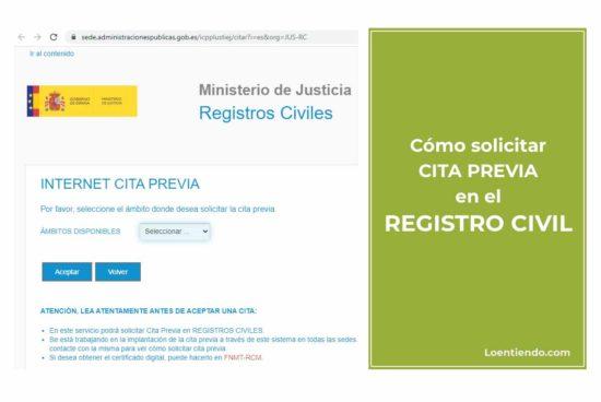 Cómo solicitar cita previa en el Registro Civil