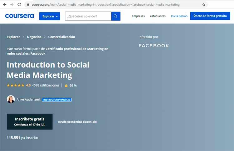 Curso marketing en Facebook