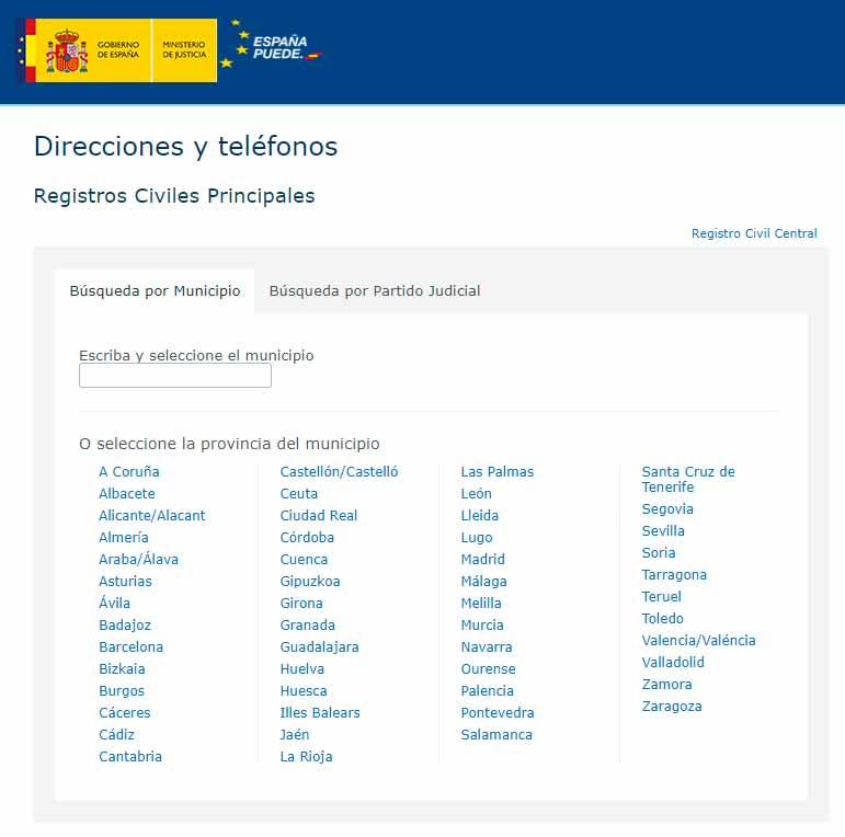 Directorio de Registros Civiles de España