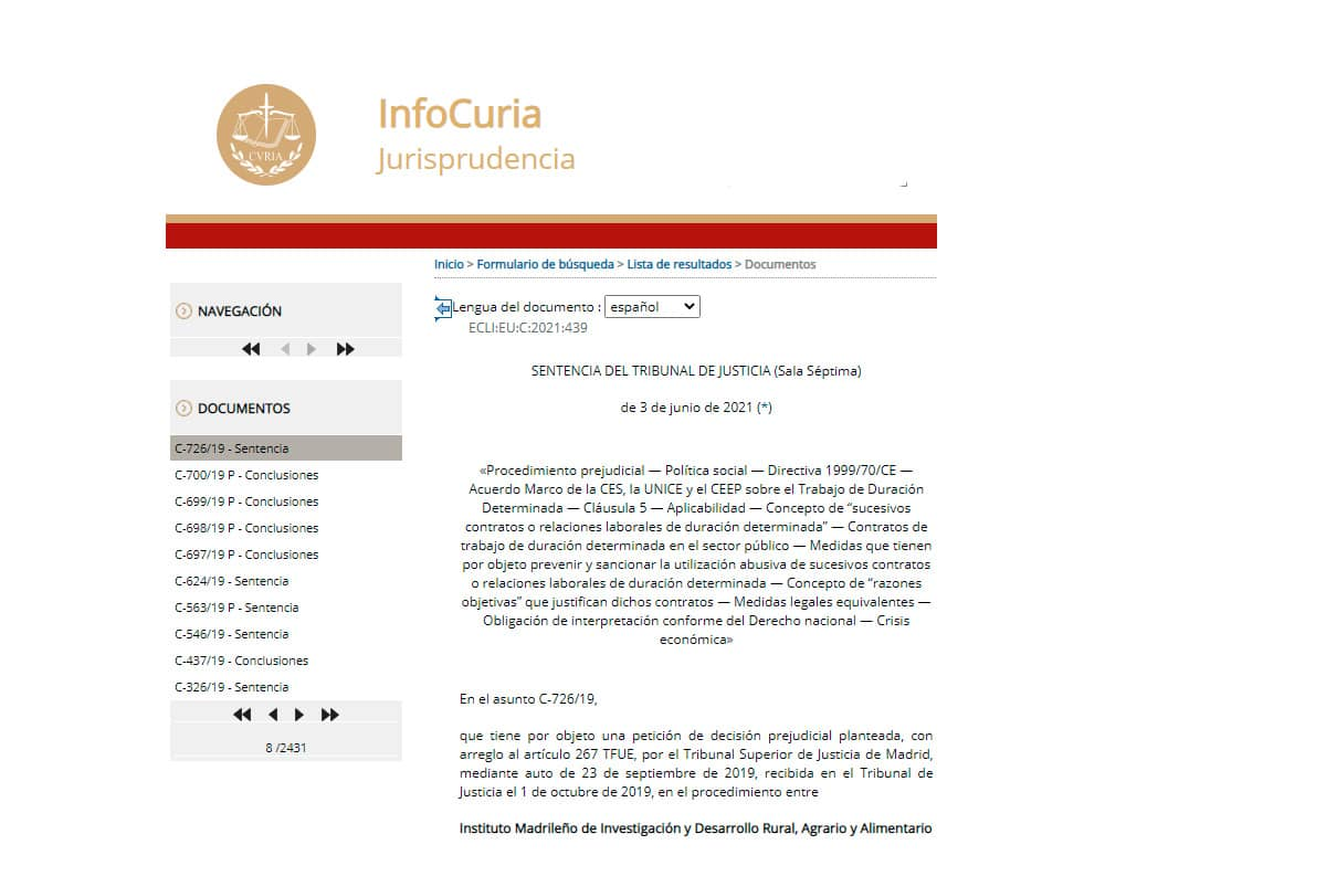 Sentencia TJUE 3 junio 2021 interinos texto completo