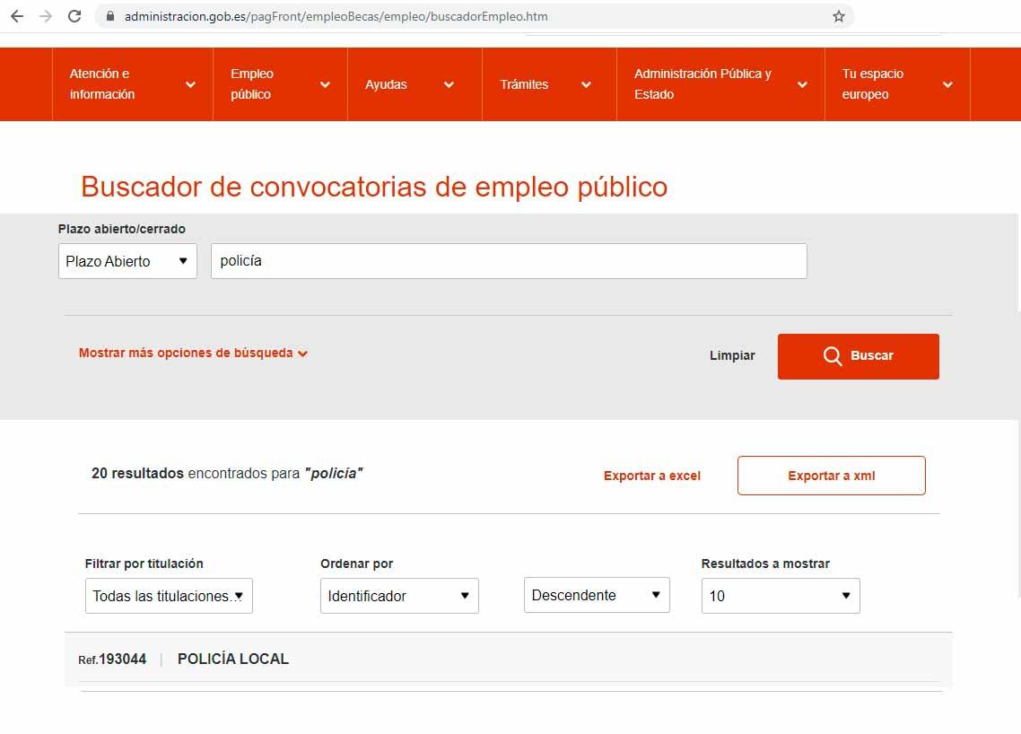 Buscador oposiciones empleo público