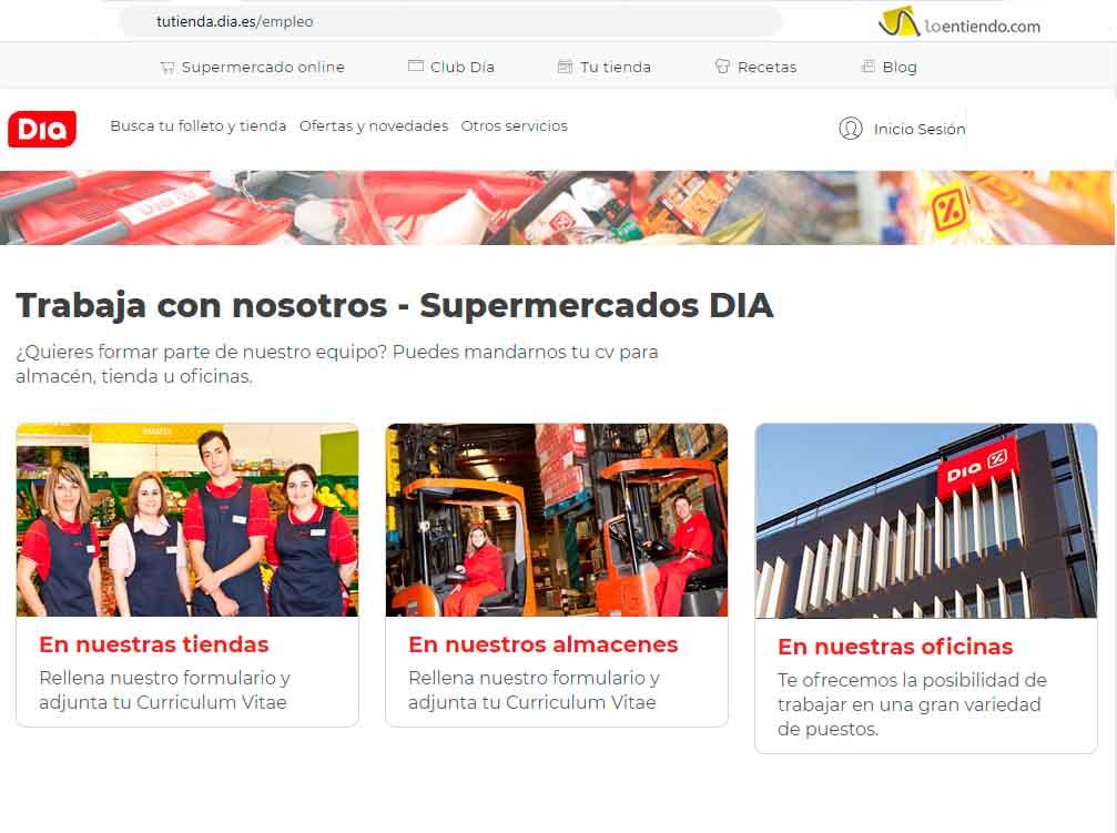 Página de empleo de supermercados DIA