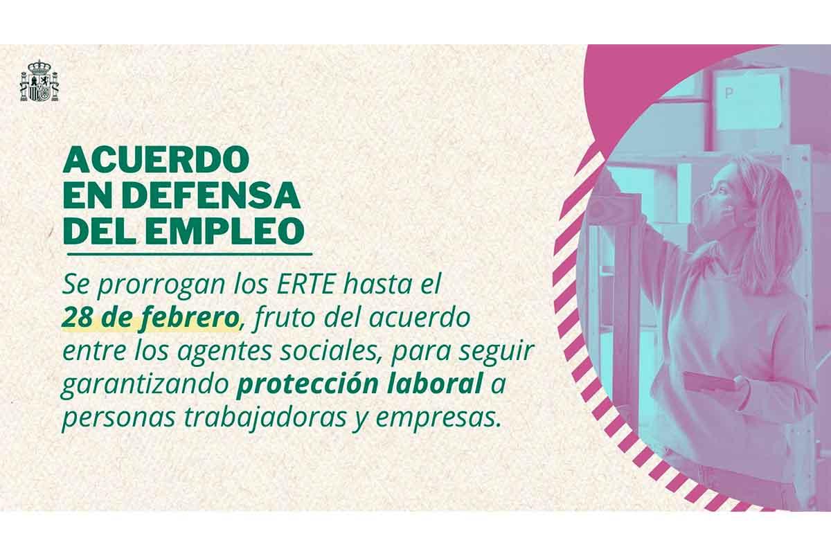 Prórroga de los ERTE hasta el 28 de febrero de 2022