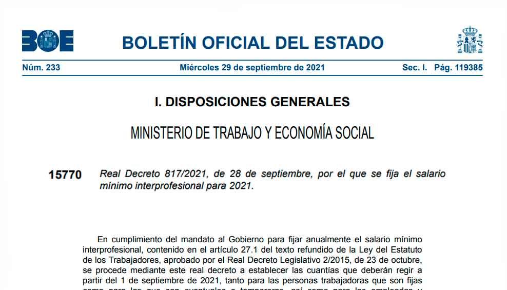 Real Decreto 817 - 2021 SMI